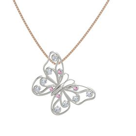 Platinum Necklace with Pink Sapphire & Diamond