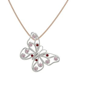 Platinum Pendant with Ruby and Rhodolite Garnet