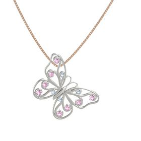 Platinum Necklace with Blue Topaz & Pink Sapphire