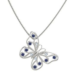 Platinum Necklace with Blue Topaz & Sapphire