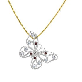 Sterling Silver Necklace with Red Garnet & Diamond