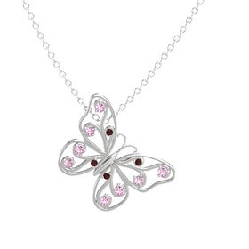 Sterling Silver Necklace with Red Garnet & Pink Sapphire