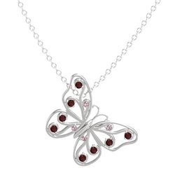 Sterling Silver Necklace with Rhodolite Garnet & Red Garnet