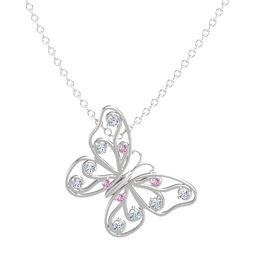 Sterling Silver Pendant with Pink Sapphire and Diamond