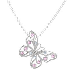 Sterling Silver Pendant with Blue Topaz and Pink Sapphire