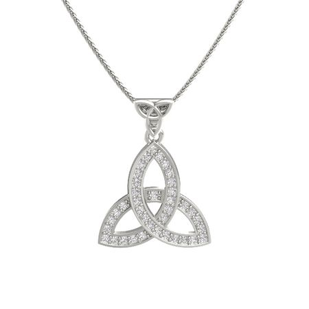 14k white gold necklace with white sapphire double trinity pendant double trinity pendant aloadofball Gallery