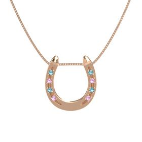 14K Rose Gold Pendant with London Blue Topaz and Pink Tourmaline