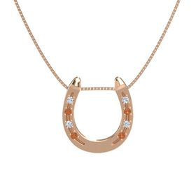 14K Rose Gold Pendant with Diamond and Fire Opal