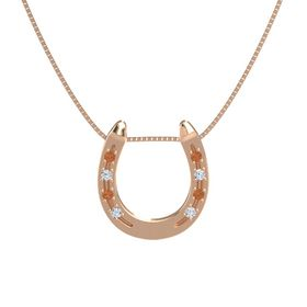 14K Rose Gold Pendant with Fire Opal and Diamond