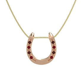 14K Rose Gold Pendant with Red Garnet and Ruby