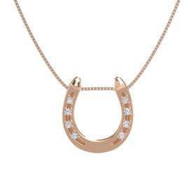 14K Rose Gold Pendant with White Sapphire and Diamond
