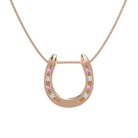 14K Rose Gold Necklace with Pink Sapphire & Diamond