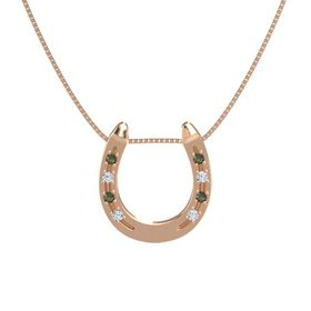 14K Rose Gold Necklace with Green Tourmaline & Diamond