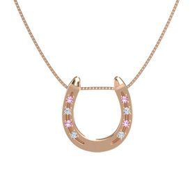 14K Rose Gold Necklace with Pink Tourmaline & Diamond