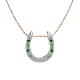 14K White Gold Pendant with Alexandrite and Emerald
