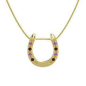 14K Yellow Gold Pendant with Amethyst and Red Garnet