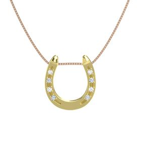14K Yellow Gold Necklace with Rock Crystal & Diamond