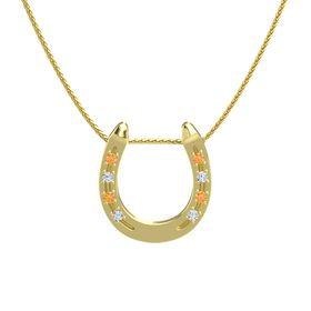 14K Yellow Gold Pendant with Citrine and Diamond