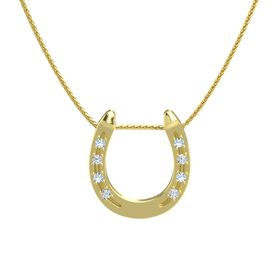14K Yellow Gold Necklace with Aquamarine & Diamond