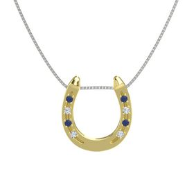 14K Yellow Gold Pendant with Blue Sapphire and Diamond