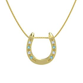 14K Yellow Gold Pendant with Blue Topaz and London Blue Topaz