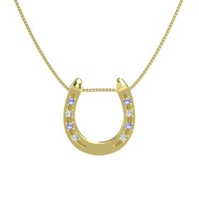 14K Yellow Gold Pendant with Iolite and White Sapphire