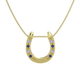 14K Yellow Gold Pendant with Iolite and Blue Sapphire