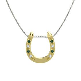 14K Yellow Gold Pendant with Alexandrite and Diamond