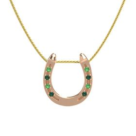 18K Rose Gold Pendant with Emerald and Alexandrite