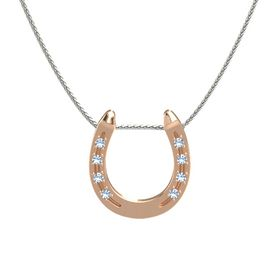 18K Rose Gold Necklace with Blue Topaz