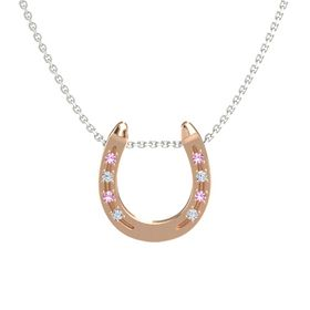 18K Rose Gold Necklace with Pink Tourmaline & Diamond