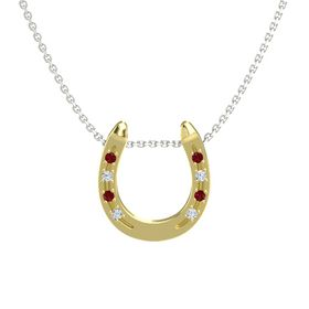 18K Yellow Gold Pendant with Ruby and Diamond