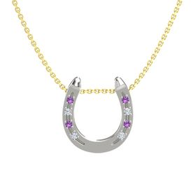 Platinum Necklace with Amethyst & Diamond