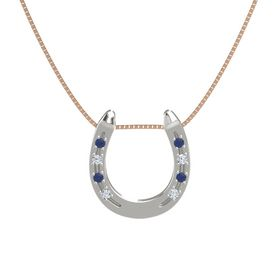 Platinum Pendant with Blue Sapphire and Diamond