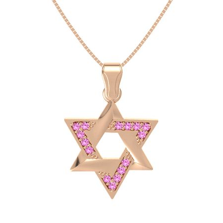 14k rose gold necklace with pink sapphire star of david pendant star of david pendant with gems aloadofball Images