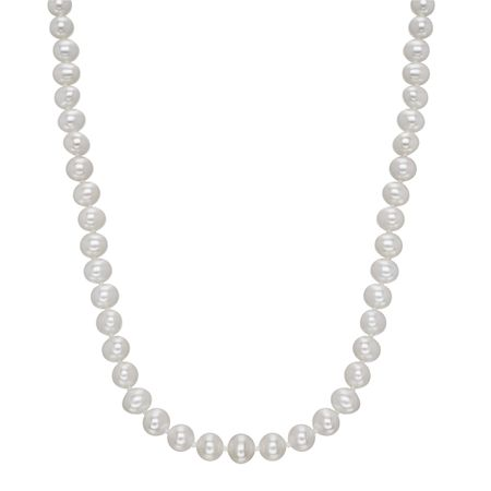 6 mm White Pearl Strand Necklace, 16