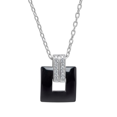 Tile Pendant with Cubic Zirconia