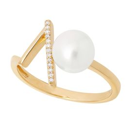 7-7.5 mm White Pearl V Ring with Diamonds