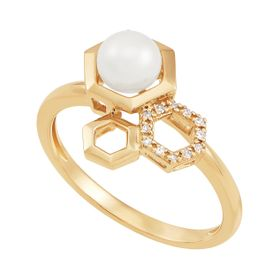 5.5-6 mm White Pearl Hexagon Ring with Diamonds