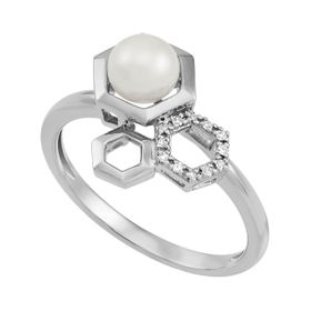 5.5-6 mm White Pearl Hexagon Ring with Diamonds, White