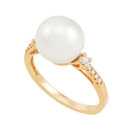 10-10.5 mm White Pearl & 1/10 ct Diamond Ring