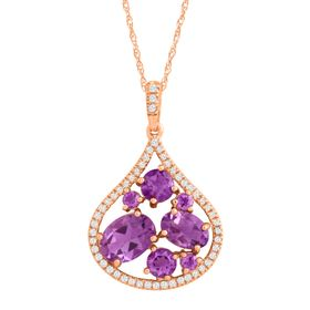 1 3/4 ct Amethyst & 1/6 ct Diamond Teardrop Pendant