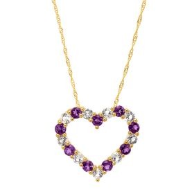 1 1/4 ct Amethyst & White Topaz Open Heart Pendant