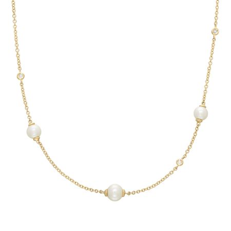 5-5.5 mm Pearl Necklace with Diamonds