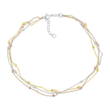 Three-Tone Triple-Strand Beaded Anklet