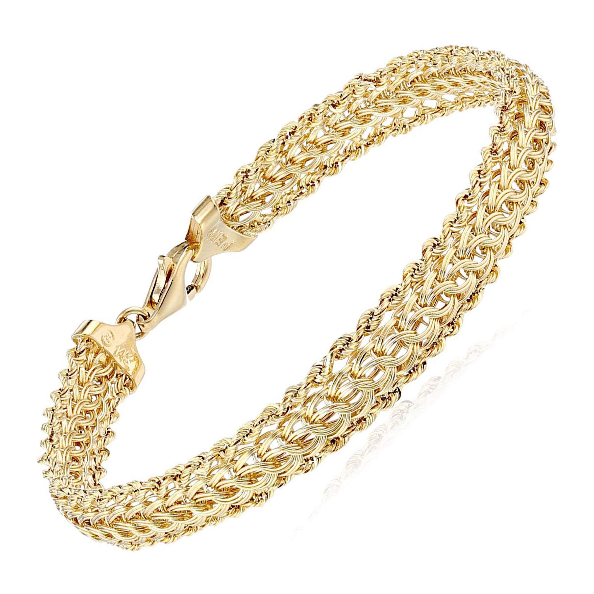 Eternity Gold Layered Woven Chain Bracelet In 14k Gold 7