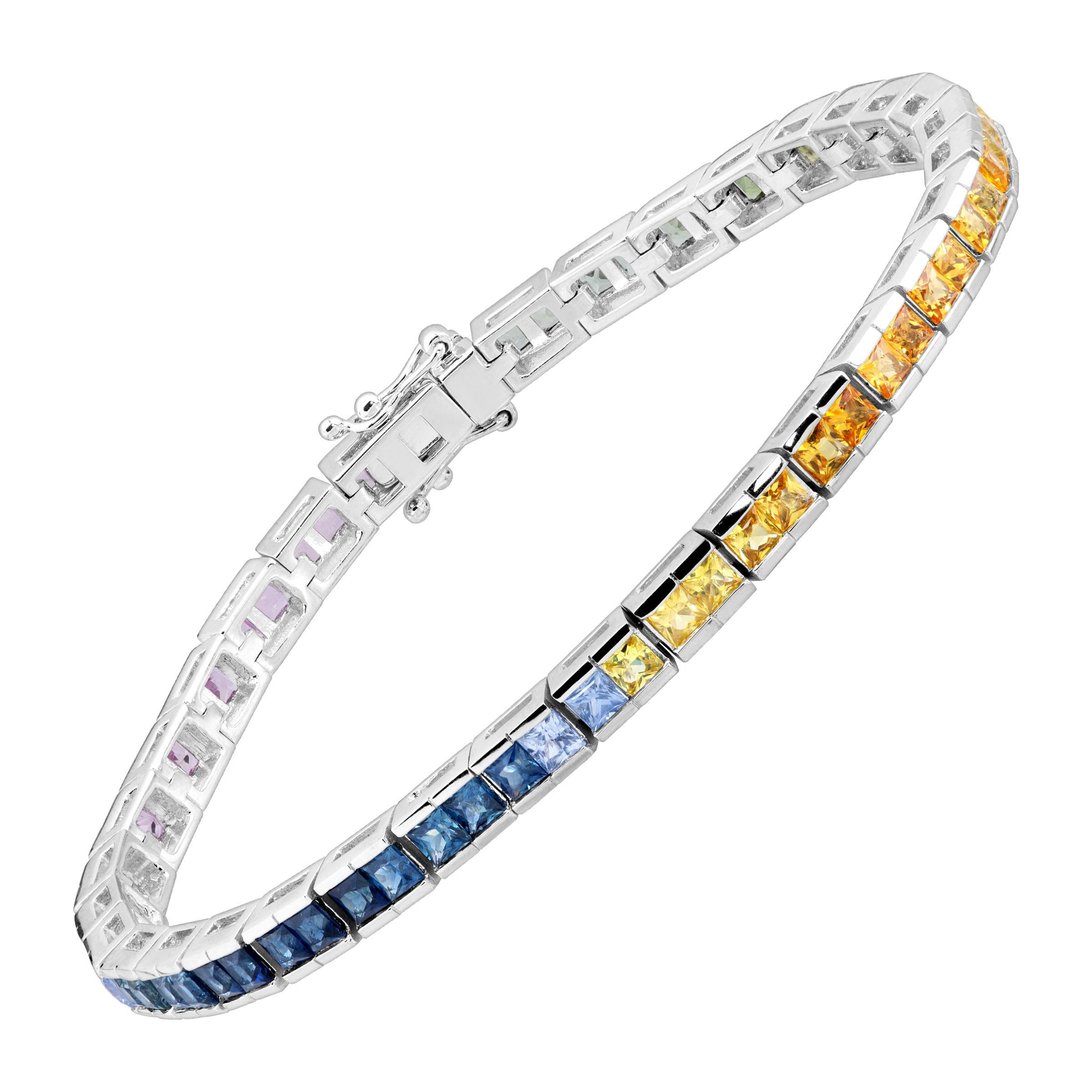 7 1 6 Ct Rainbow Natural Shire Princess Cut Tennis Bracelet In 14k White Gold