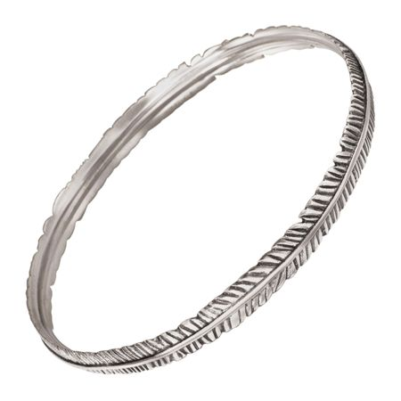 Etched Feather Bangle