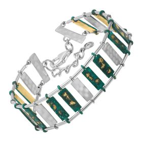 Patina Stripes Link Bracelet