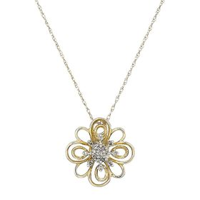 Filigree Sunburst Flower Pendant with Diamonds
